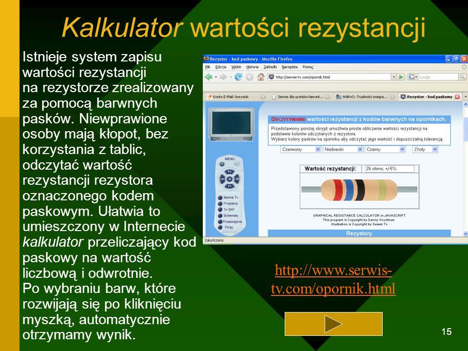 Kalkulator wartości rezystancji