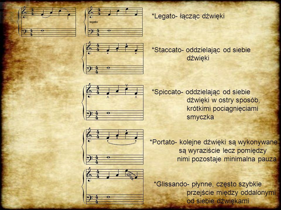 *Legato- łącząc dźwięki