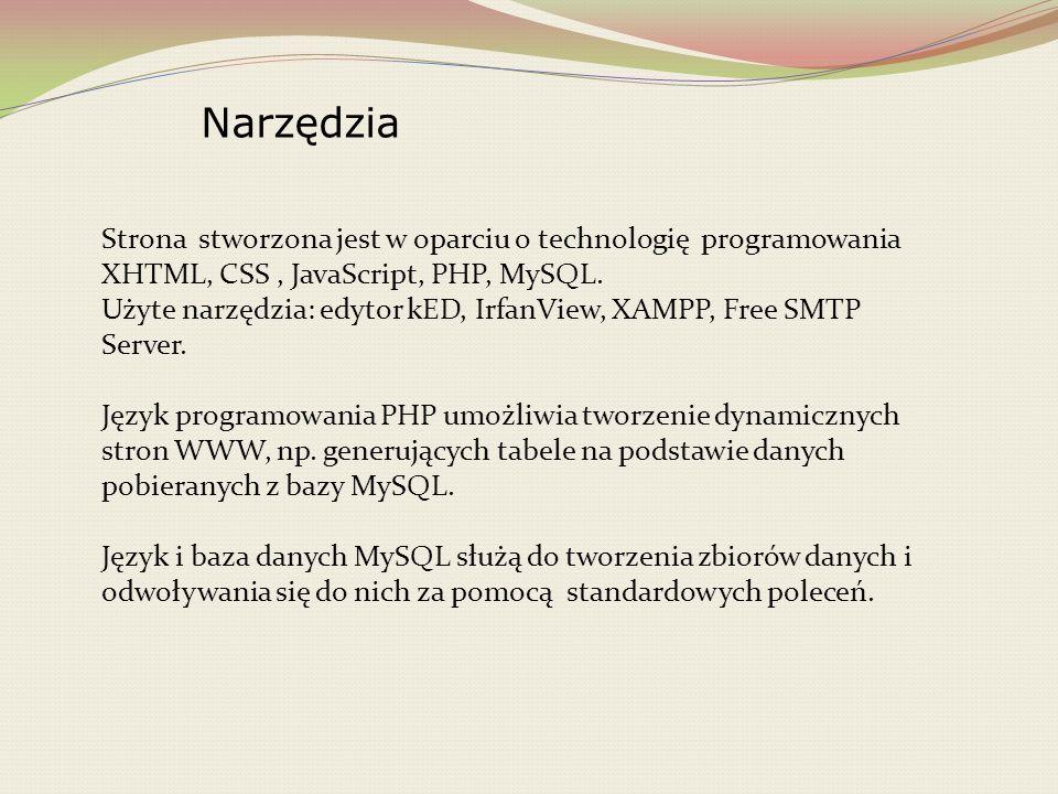 Narzędzia Strona stworzona jest w oparciu o technologię programowania XHTML, CSS , JavaScript, PHP, MySQL.