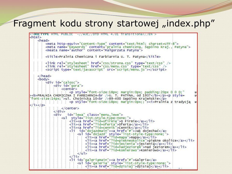 """Fragment kodu strony startowej """"index.php"""