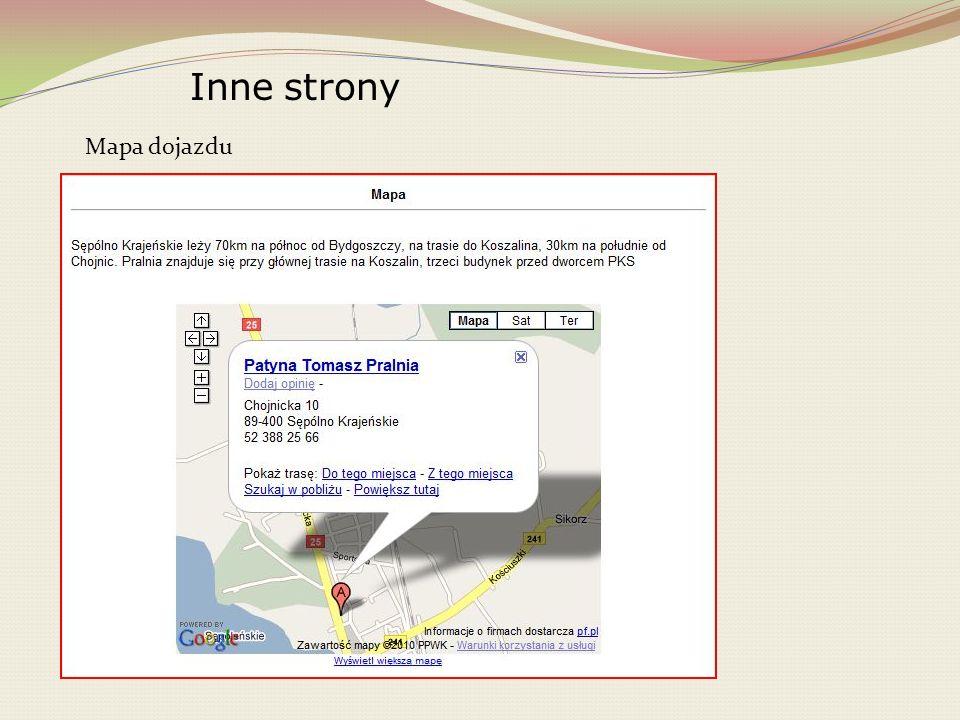 Inne strony Mapa dojazdu