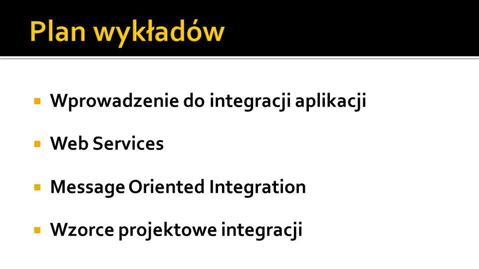 Plan wykładów Wprowadzenie do integracji aplikacji Web Services
