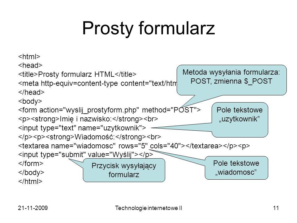 Prosty formularz <html> <head>