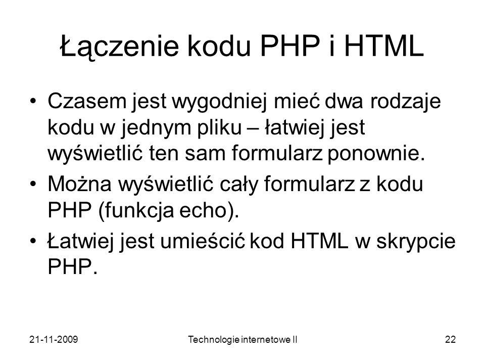 Łączenie kodu PHP i HTML