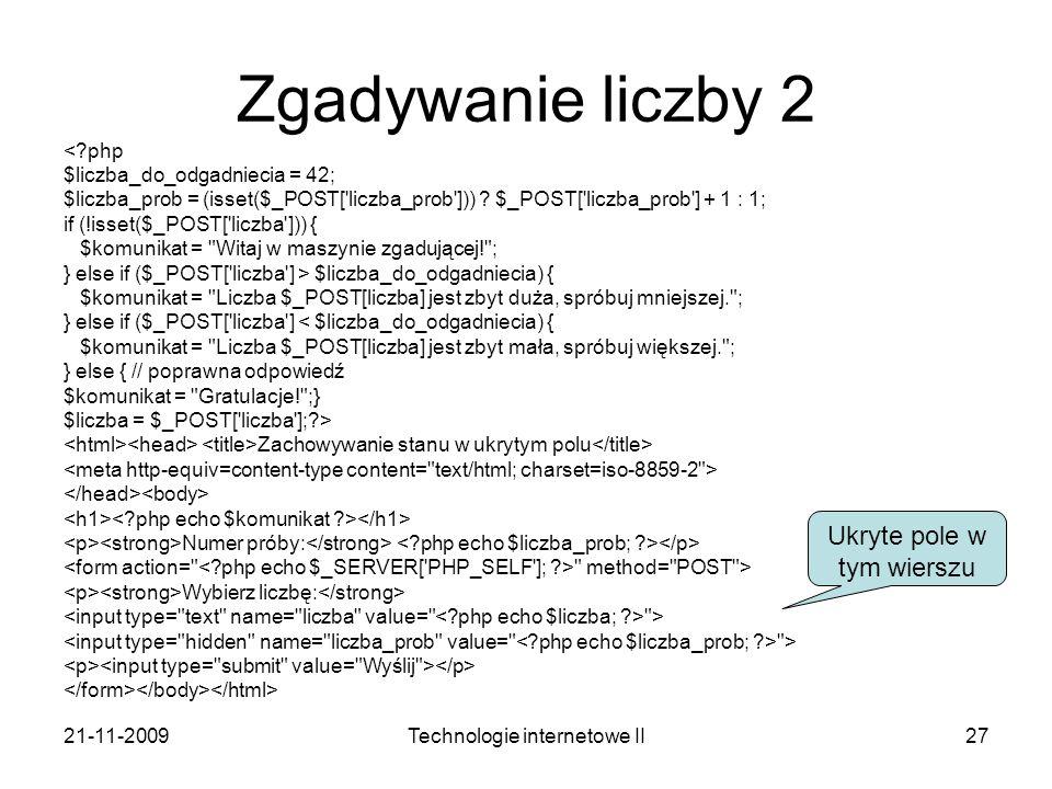 Zgadywanie liczby 2 Ukryte pole w tym wierszu < php