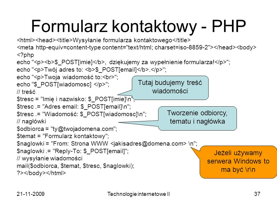 Formularz kontaktowy - PHP
