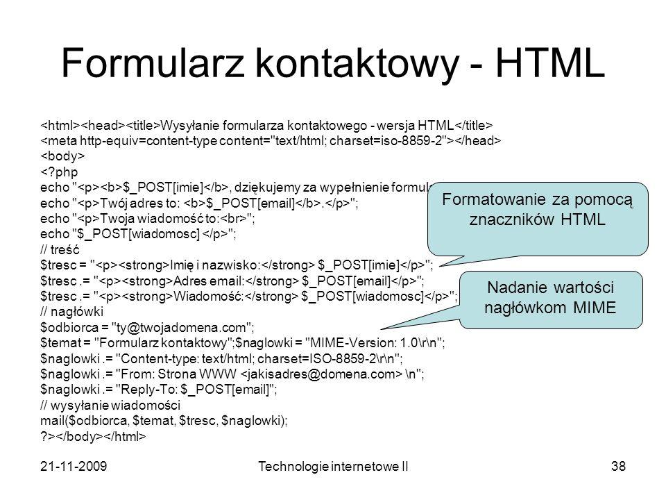 Formularz kontaktowy - HTML