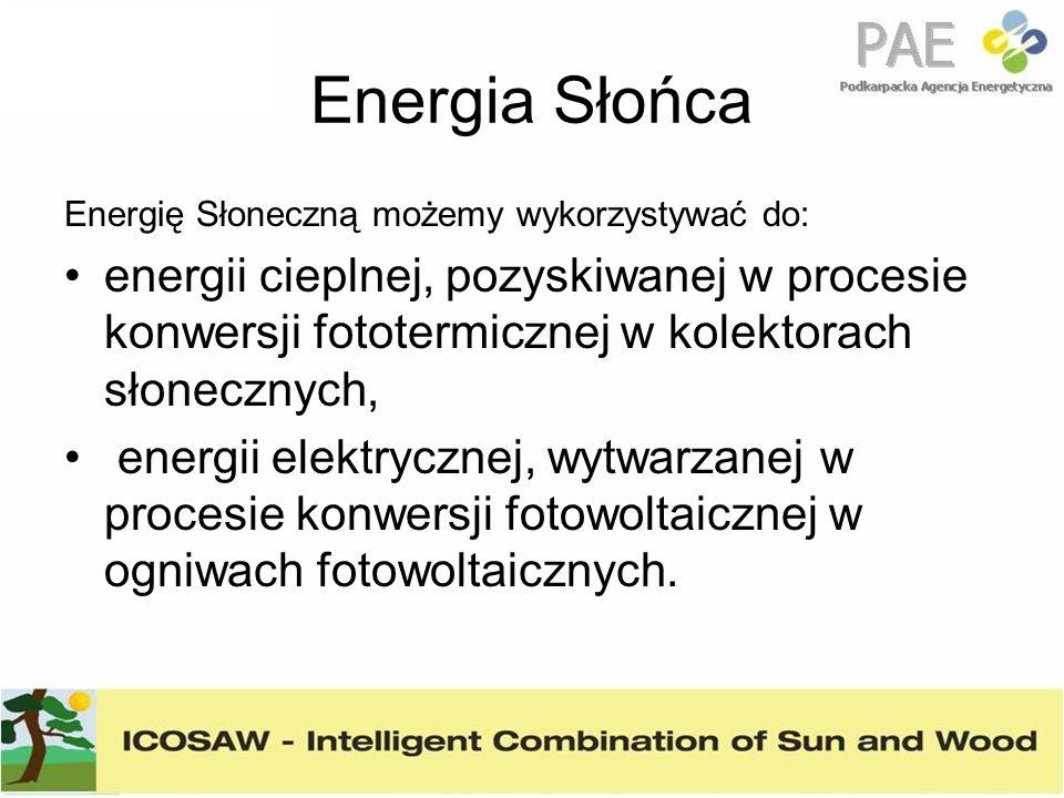 Energia Słońca Energię Słoneczną możemy wykorzystywać do: