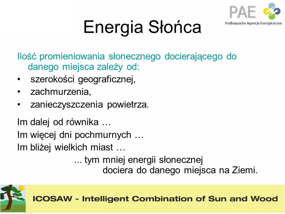 Energia Słońca Ilość promieniowania słonecznego docierającego do danego miejsca zależy od: szerokości geograficznej,