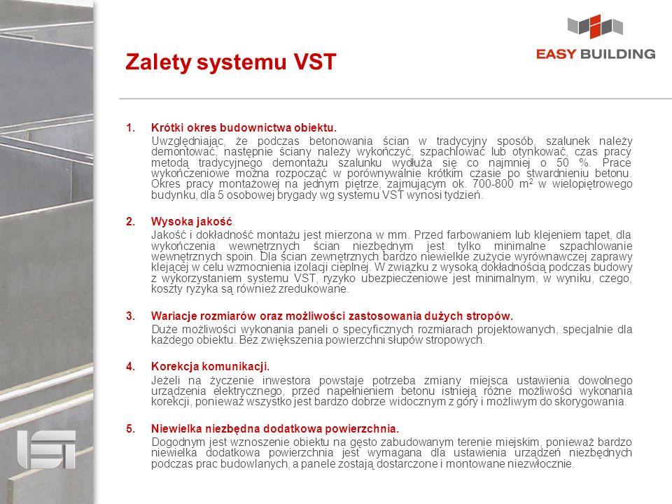 Zalety systemu VST Krótki okres budownictwa obiektu.