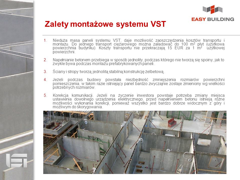 Zalety montażowe systemu VST