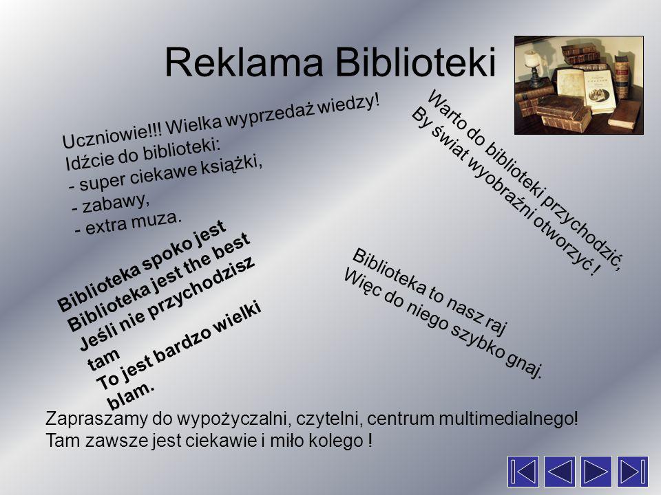 Reklama Biblioteki Uczniowie!!! Wielka wyprzedaż wiedzy!