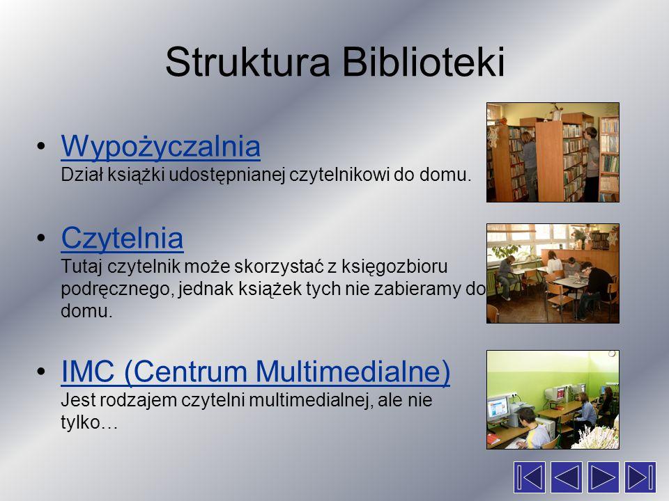 Struktura Biblioteki Wypożyczalnia Dział książki udostępnianej czytelnikowi do domu.