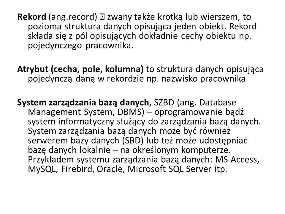 Rekord (ang.record) – zwany także krotką lub wierszem, to pozioma struktura danych opisująca jeden obiekt.
