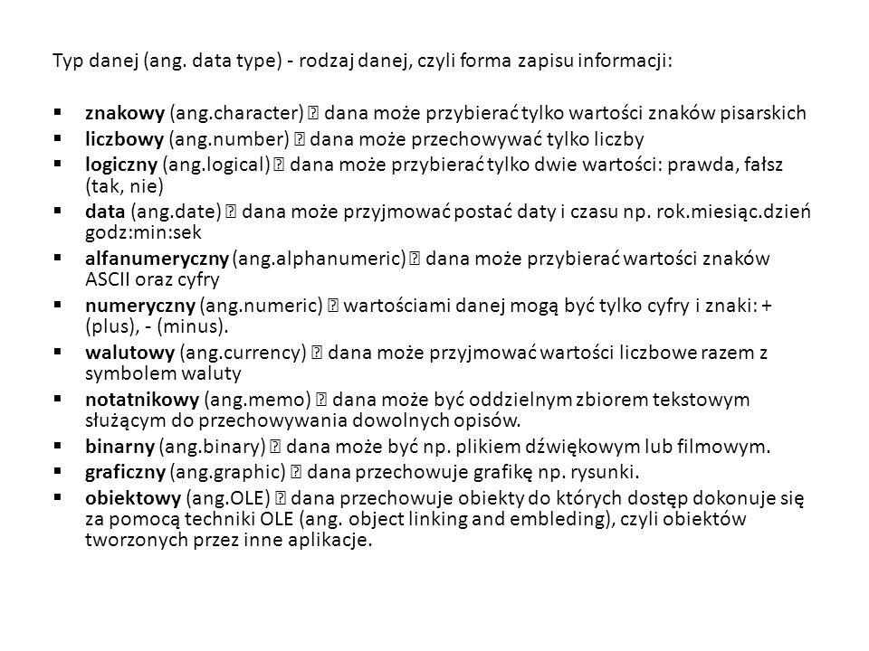 Typ danej (ang. data type) - rodzaj danej, czyli forma zapisu informacji: