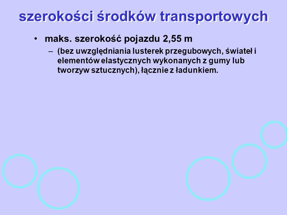 szerokości środków transportowych