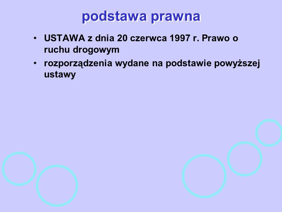 podstawa prawnaUSTAWA z dnia 20 czerwca 1997 r.Prawo o ruchu drogowym.