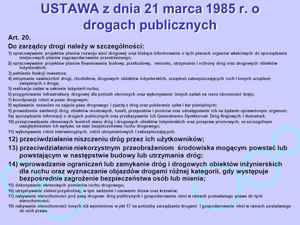 USTAWA z dnia 21 marca 1985 r. o drogach publicznych