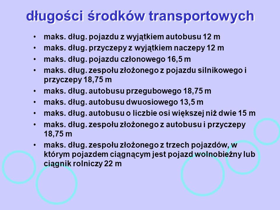 długości środków transportowych