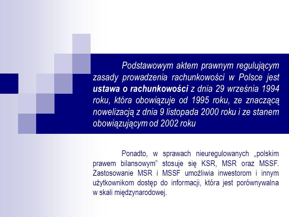 Podstawowym aktem prawnym regulującym zasady prowadzenia rachunkowości w Polsce jest ustawa o rachunkowości z dnia 29 września 1994 roku, która obowiązuje od 1995 roku, ze znaczącą nowelizacją z dnia 9 listopada 2000 roku i ze stanem obowiązującym od 2002 roku
