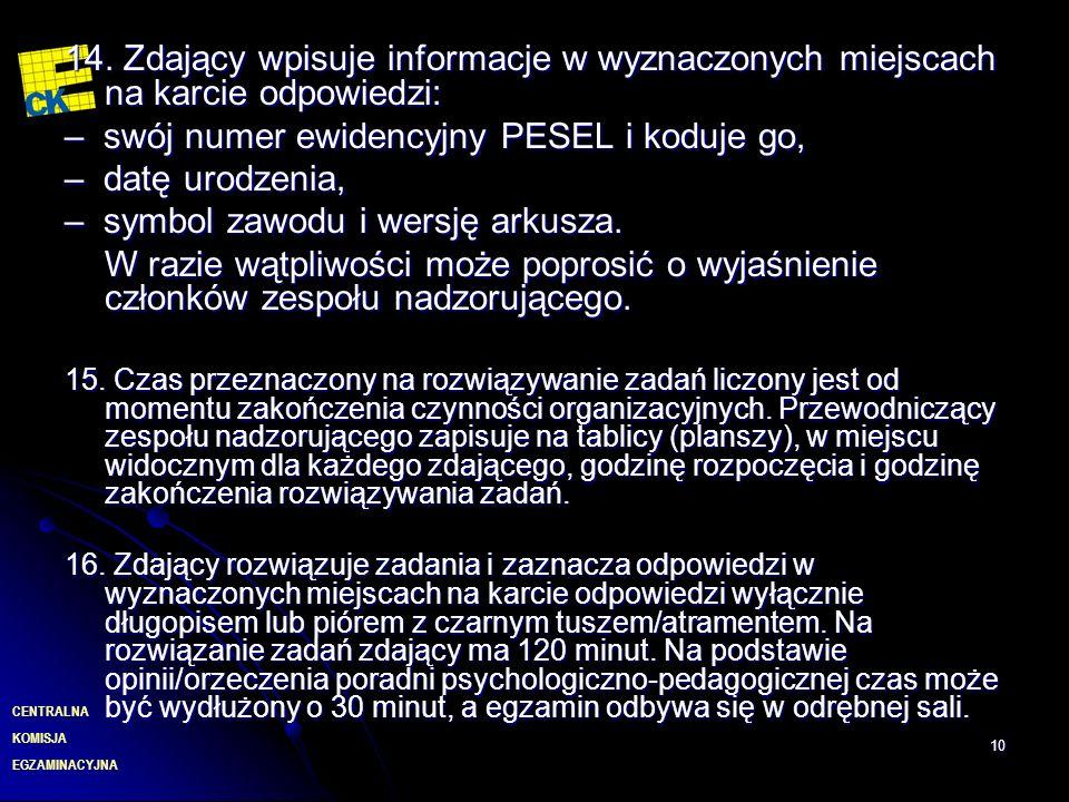 – swój numer ewidencyjny PESEL i koduje go, – datę urodzenia,