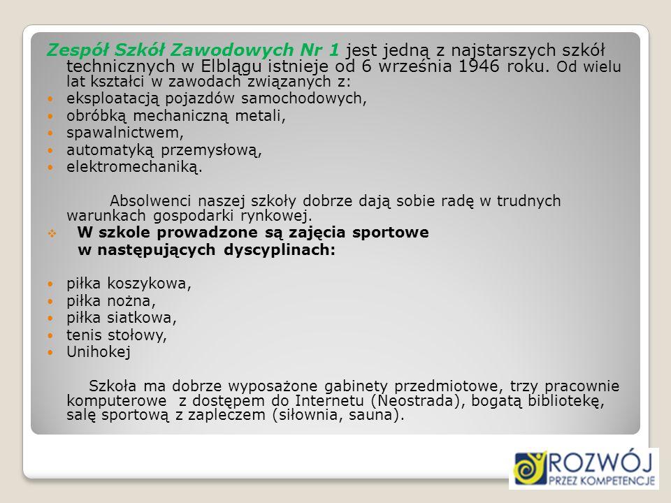 Zespół Szkół Zawodowych Nr 1 jest jedną z najstarszych szkół technicznych w Elblągu istnieje od 6 września 1946 roku. Od wielu lat kształci w zawodach związanych z: