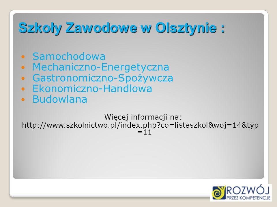 Szkoły Zawodowe w Olsztynie :