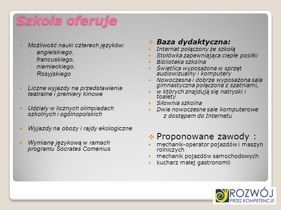 Szkoła oferuje Proponowane zawody : Baza dydaktyczna: