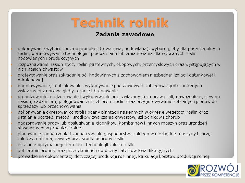 Technik rolnikZadania zawodowe.