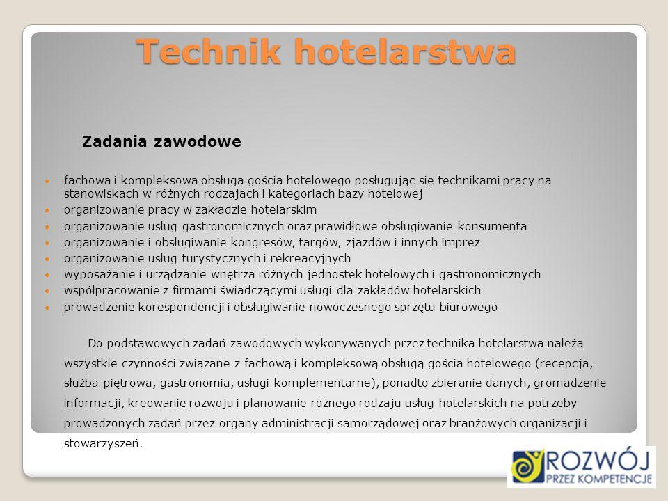 Technik hotelarstwa Zadania zawodowe.