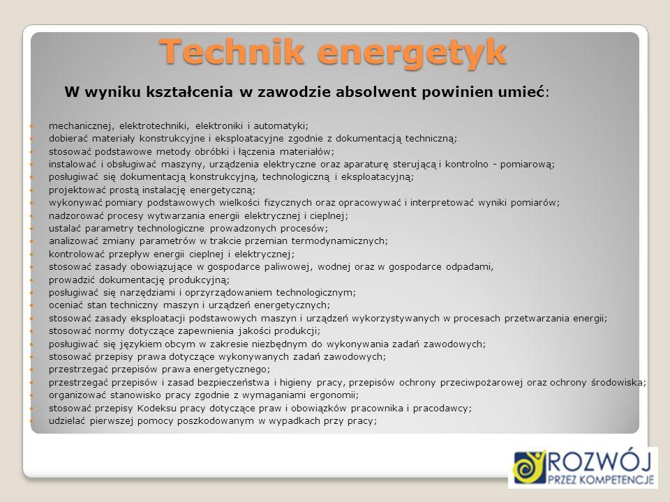 Technik energetyk W wyniku kształcenia w zawodzie absolwent powinien umieć: mechanicznej, elektrotechniki, elektroniki i automatyki;