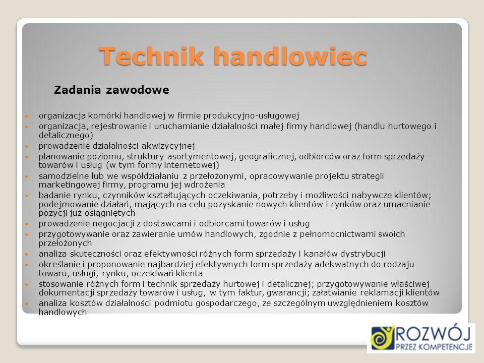 Technik handlowiec Zadania zawodowe. organizacja komórki handlowej w firmie produkcyjno-usługowej.