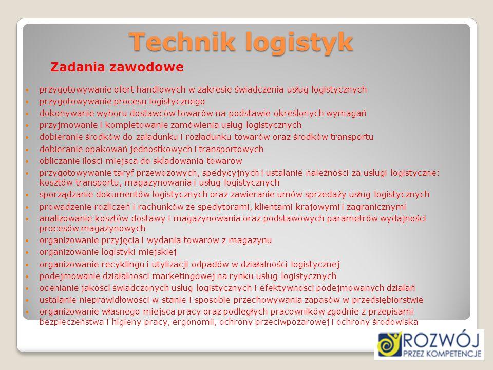 Technik logistyk Zadania zawodowe. przygotowywanie ofert handlowych w zakresie świadczenia usług logistycznych.