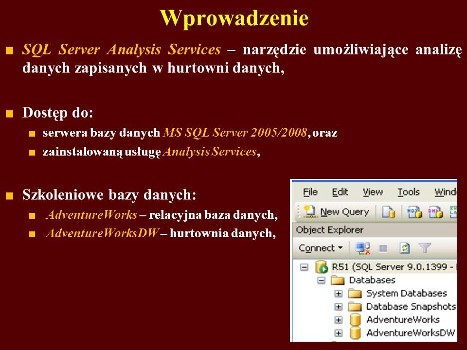 Wprowadzenie SQL Server Analysis Services – narzędzie umożliwiające analizę danych zapisanych w hurtowni danych,