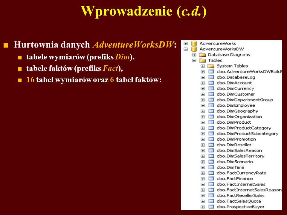 Wprowadzenie (c.d.) Hurtownia danych AdventureWorksDW: