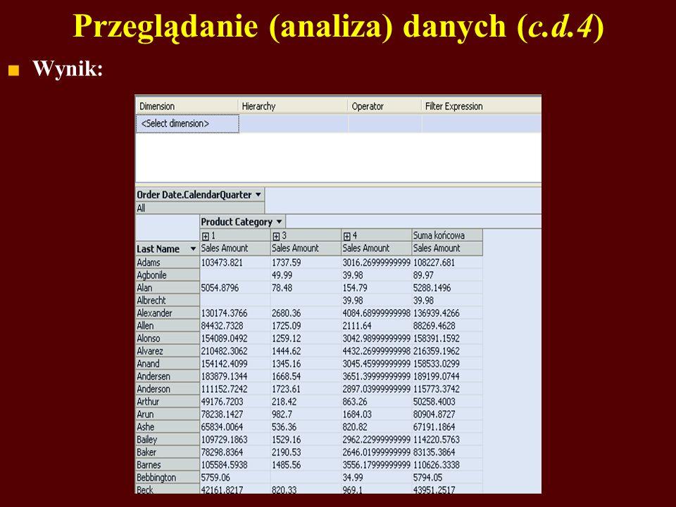 Przeglądanie (analiza) danych (c.d.4)