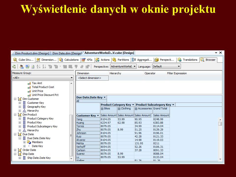 Wyświetlenie danych w oknie projektu