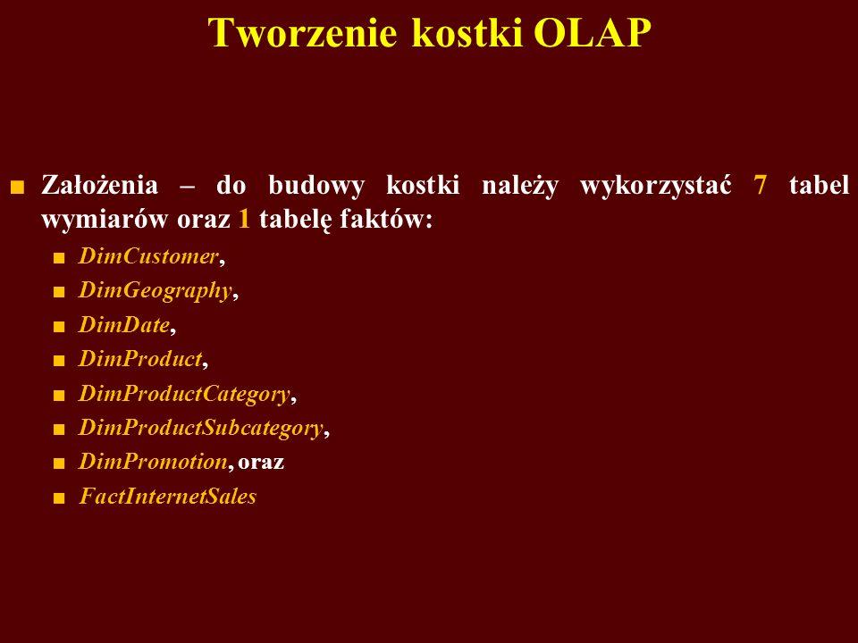 Tworzenie kostki OLAP Założenia – do budowy kostki należy wykorzystać 7 tabel wymiarów oraz 1 tabelę faktów: