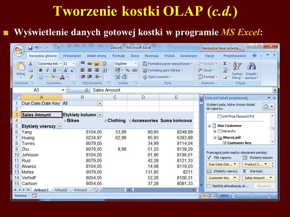 Tworzenie kostki OLAP (c.d.)