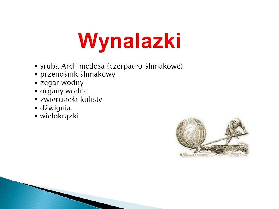 Wynalazki śruba Archimedesa (czerpadło ślimakowe) przenośnik ślimakowy