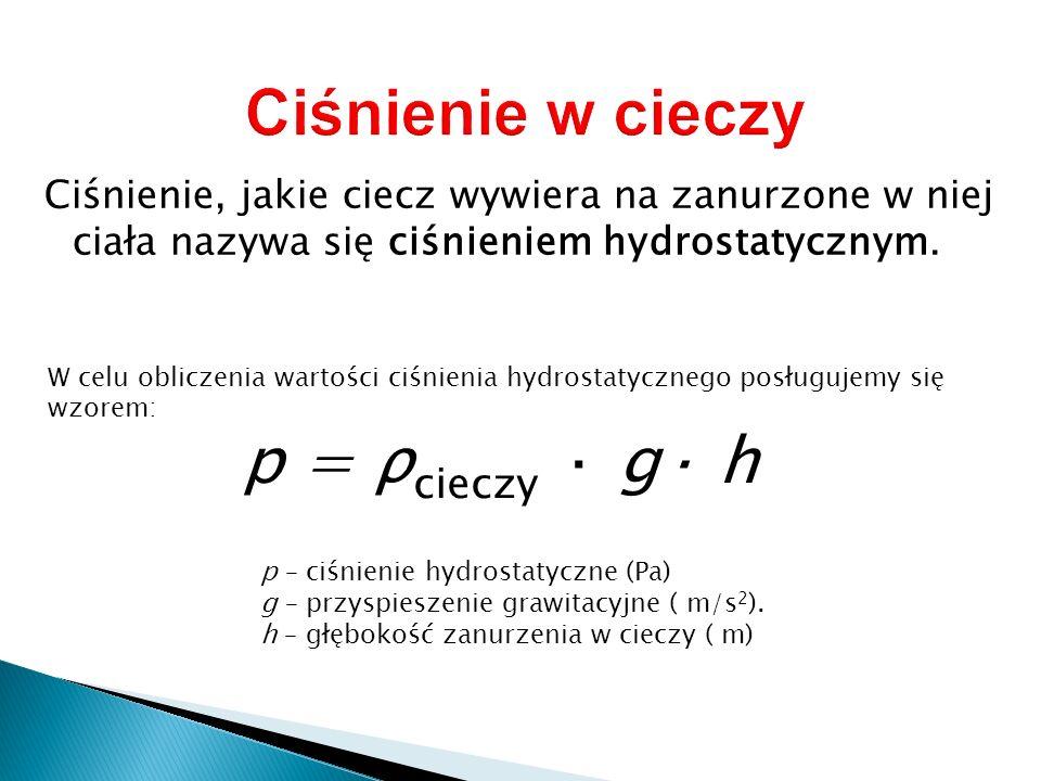 Ciśnienie w cieczy p = ρcieczy · g· h