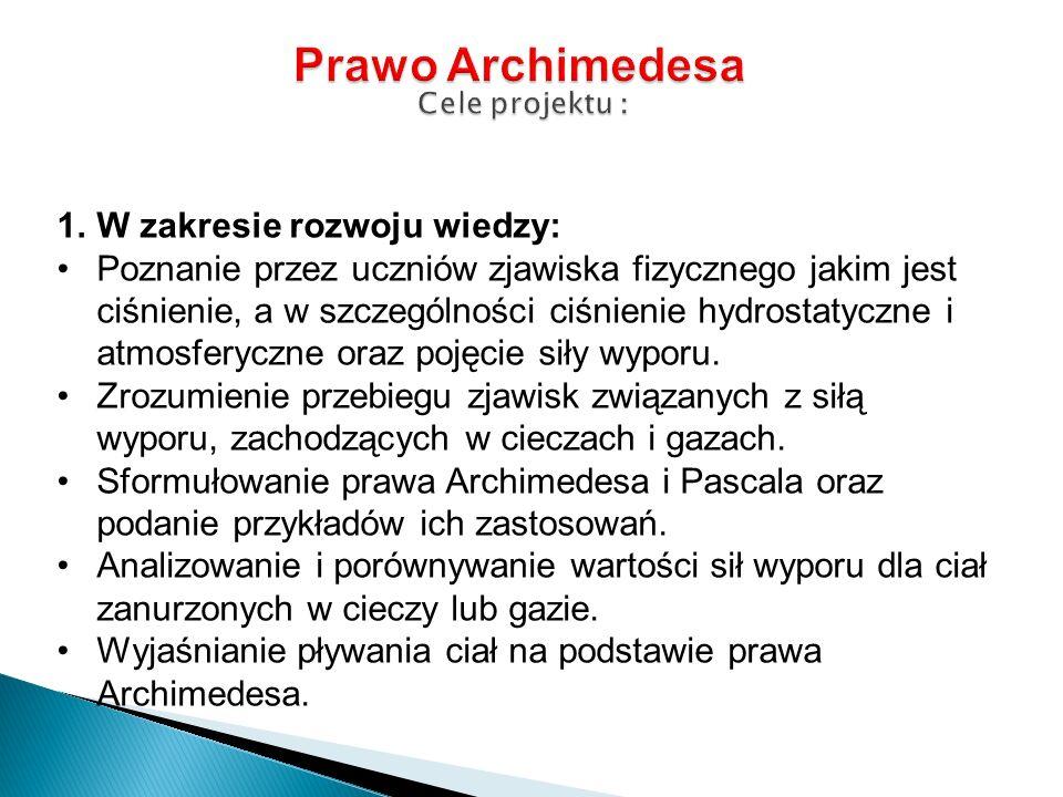 Prawo Archimedesa Cele projektu :