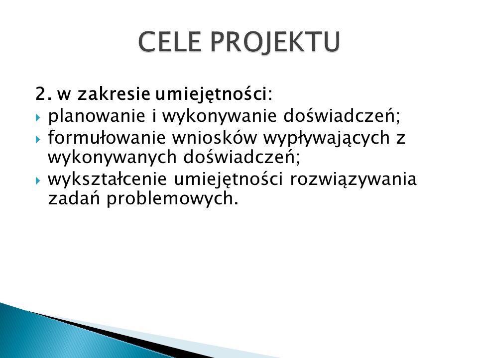CELE PROJEKTU 2. w zakresie umiejętności: