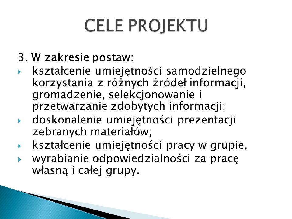 CELE PROJEKTU 3. W zakresie postaw: