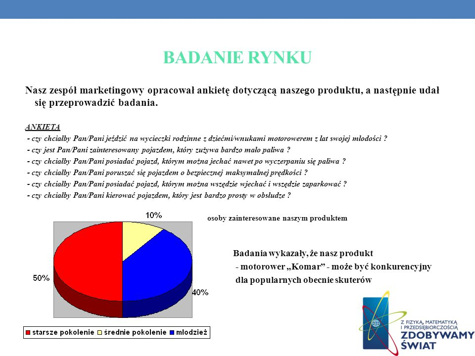 BADANIE RYNKU Nasz zespół marketingowy opracował ankietę dotyczącą naszego produktu, a następnie udał się przeprowadzić badania.