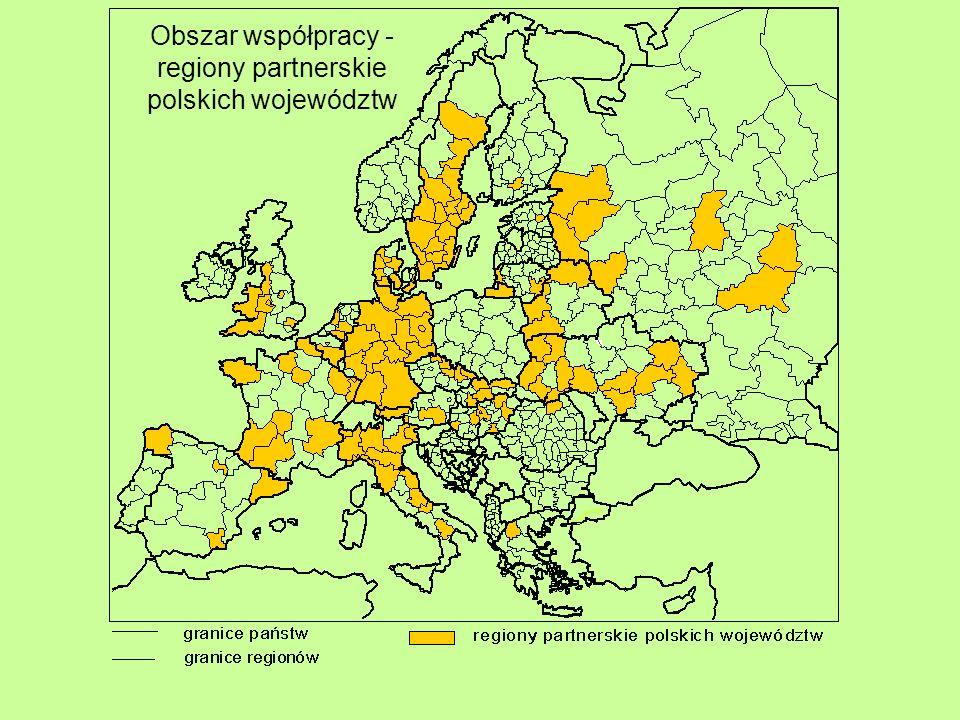 Obszar współpracy - regiony partnerskie polskich województw