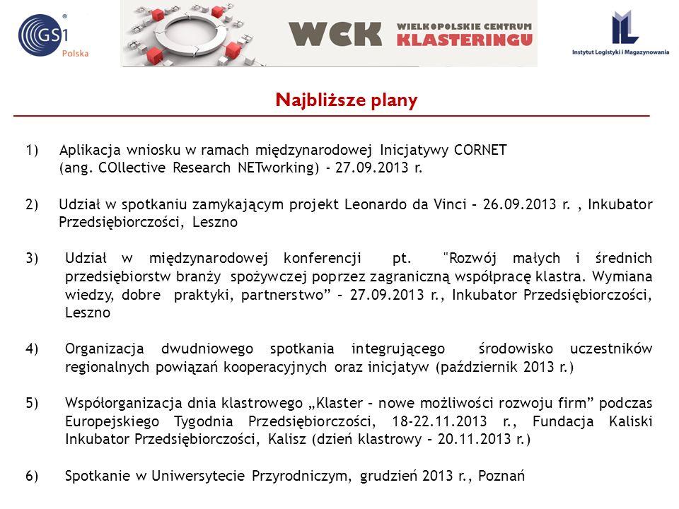 Najbliższe plany Aplikacja wniosku w ramach międzynarodowej Inicjatywy CORNET. (ang. COllective Research NETworking) - 27.09.2013 r.