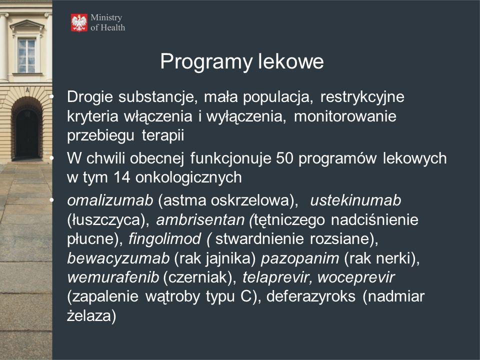 Programy lekowe Drogie substancje, mała populacja, restrykcyjne kryteria włączenia i wyłączenia, monitorowanie przebiegu terapii.