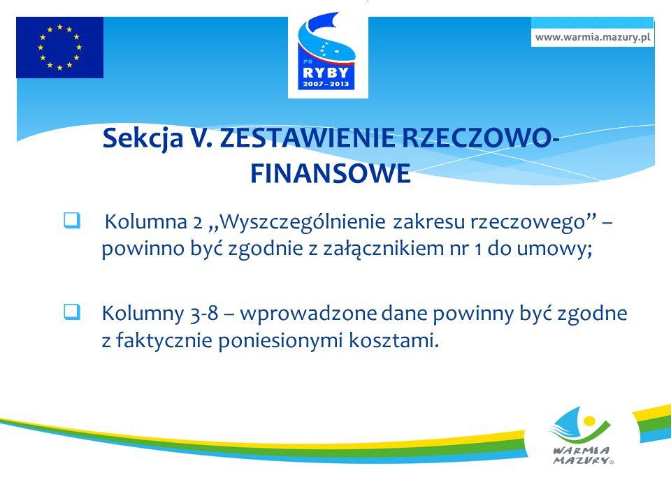 Sekcja V. ZESTAWIENIE RZECZOWO-FINANSOWE
