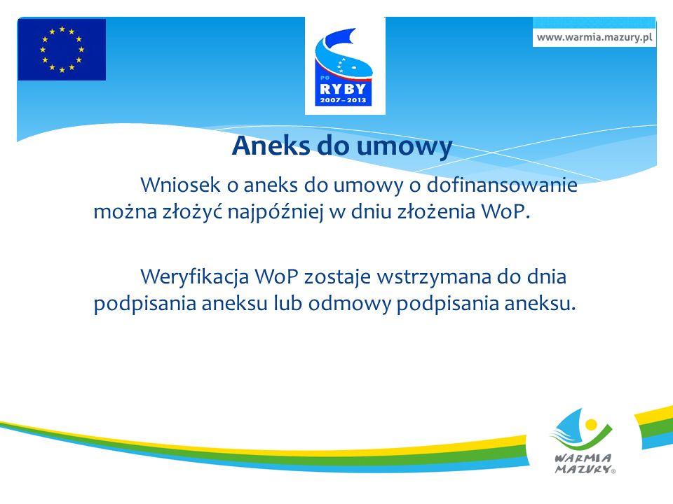 Aneks do umowy Wniosek o aneks do umowy o dofinansowanie można złożyć najpóźniej w dniu złożenia WoP.